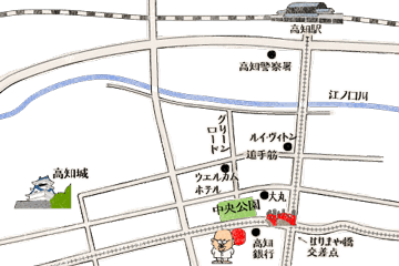 高知県高知市 居酒屋 葉牡丹の地図